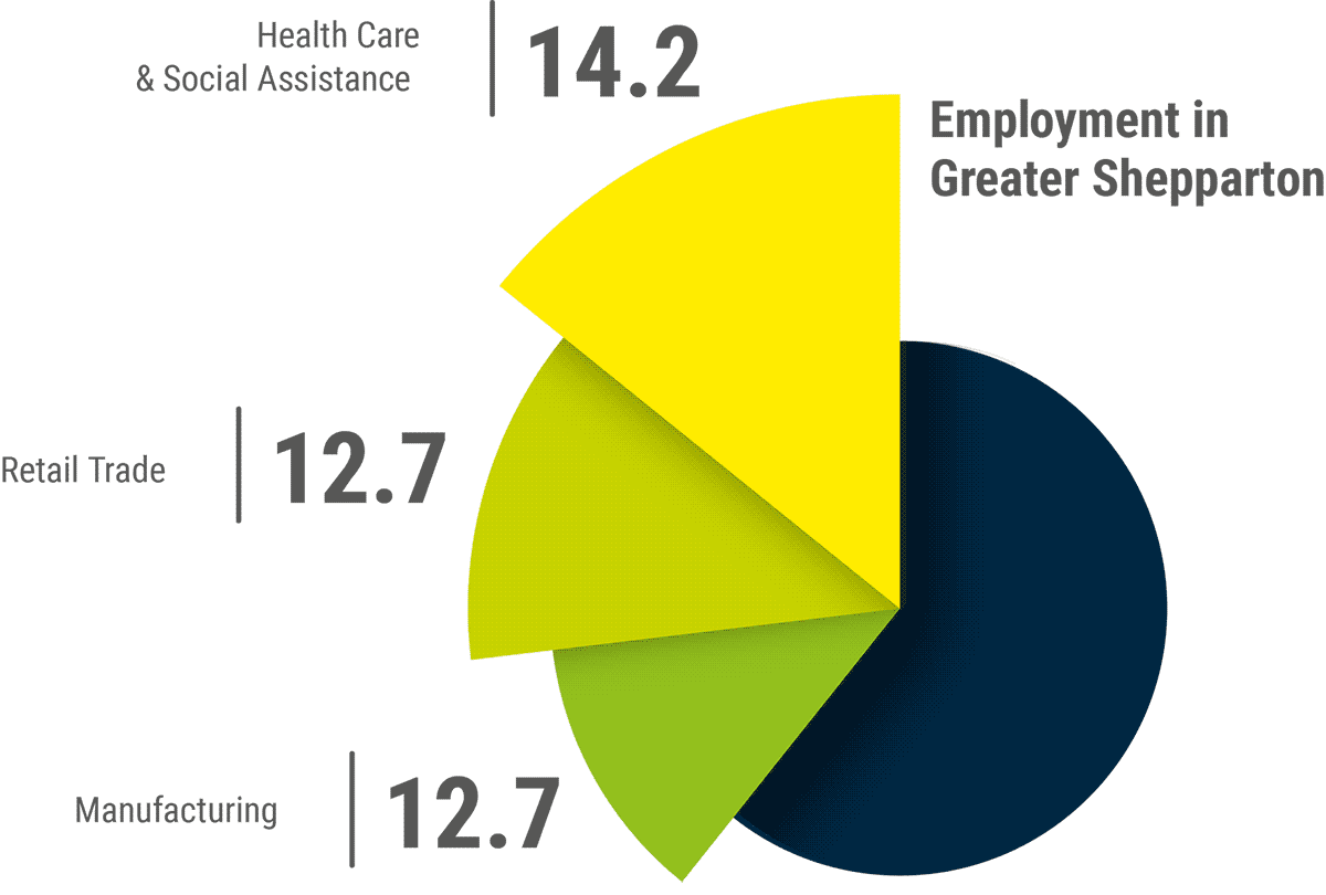 A pie chart illustrating the employment sector data located nearby.