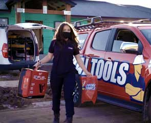 Tool store making onsite delivery with mask